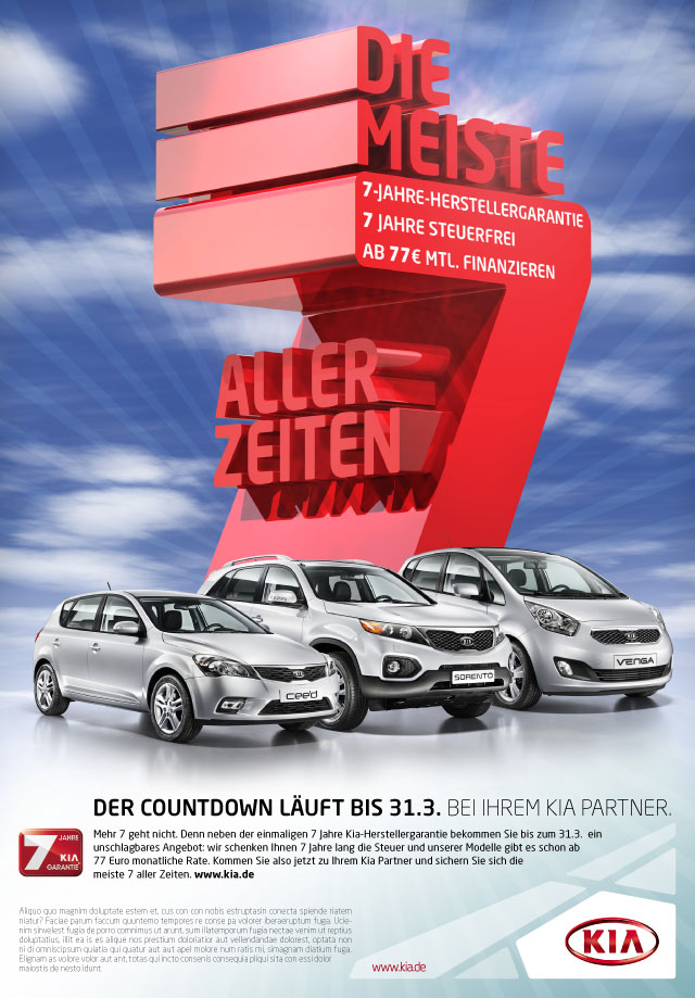 """Kia Motors Germany """"The Most 7's of all Time"""" Ad Campaign"""