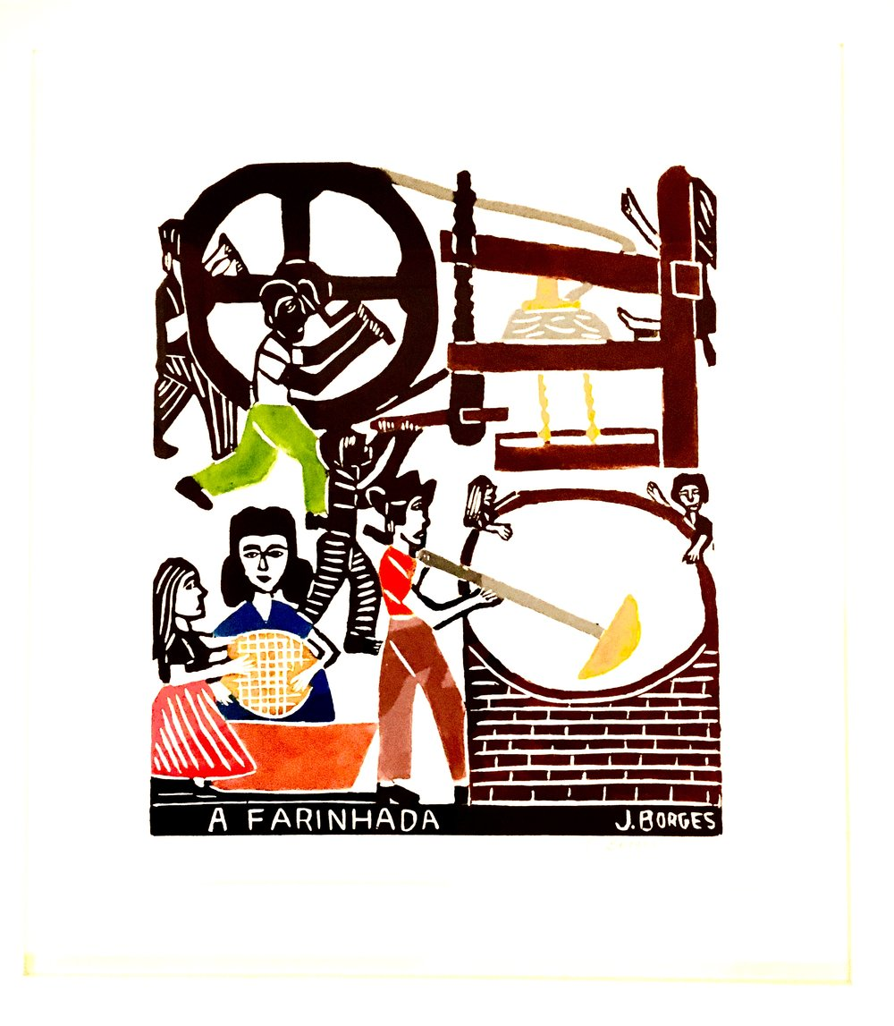 A Farinhada, woodcut print, paper, framed, J.Borges, Pernambuco, $ 430.00