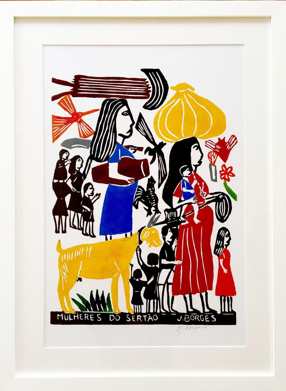 As Mulheres, woodcut print, paper, framed, J.Borges, Pernambuco, $ 450.00
