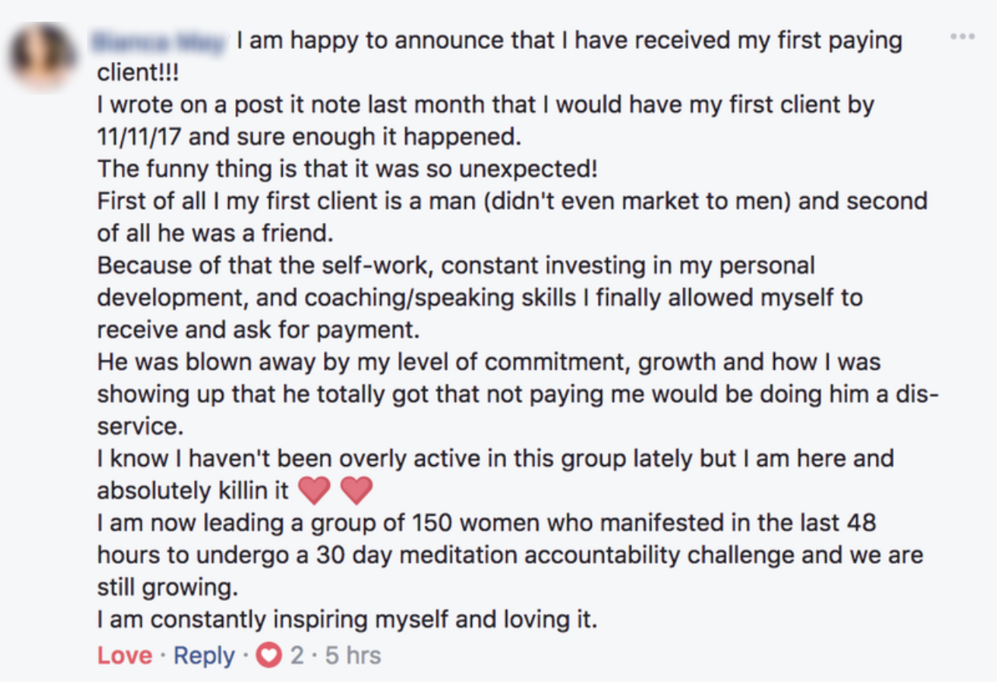 My client Bianca just booked her first, high-ticket client - Prior to working with me, Bianca was struggling to find coaching clients. Now, she's leading a group of 150 women in a meditation challenge, booking high-ticket clients and is enjoying renewed focus in her business.