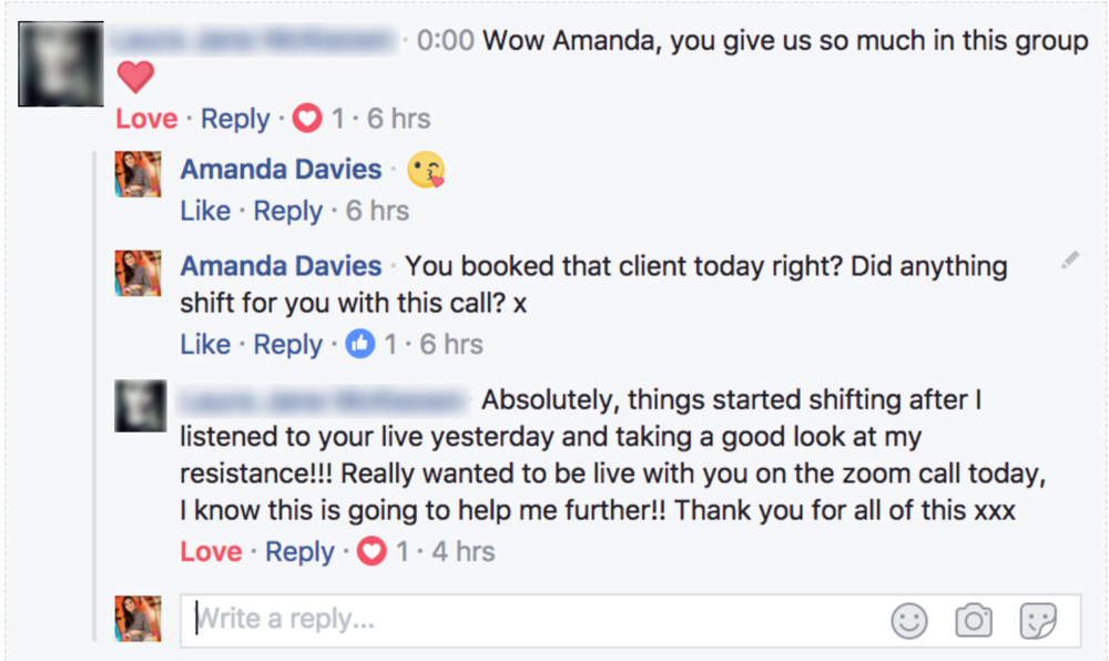 Massive mindset shifts... and booked a client immediately after - Releasing resistance and bulletproofing your mindset is key to business transformation.Laura was struggling to book clients and after just one session with me, she cleared her blocks and started booking clients immediately! Say what?!