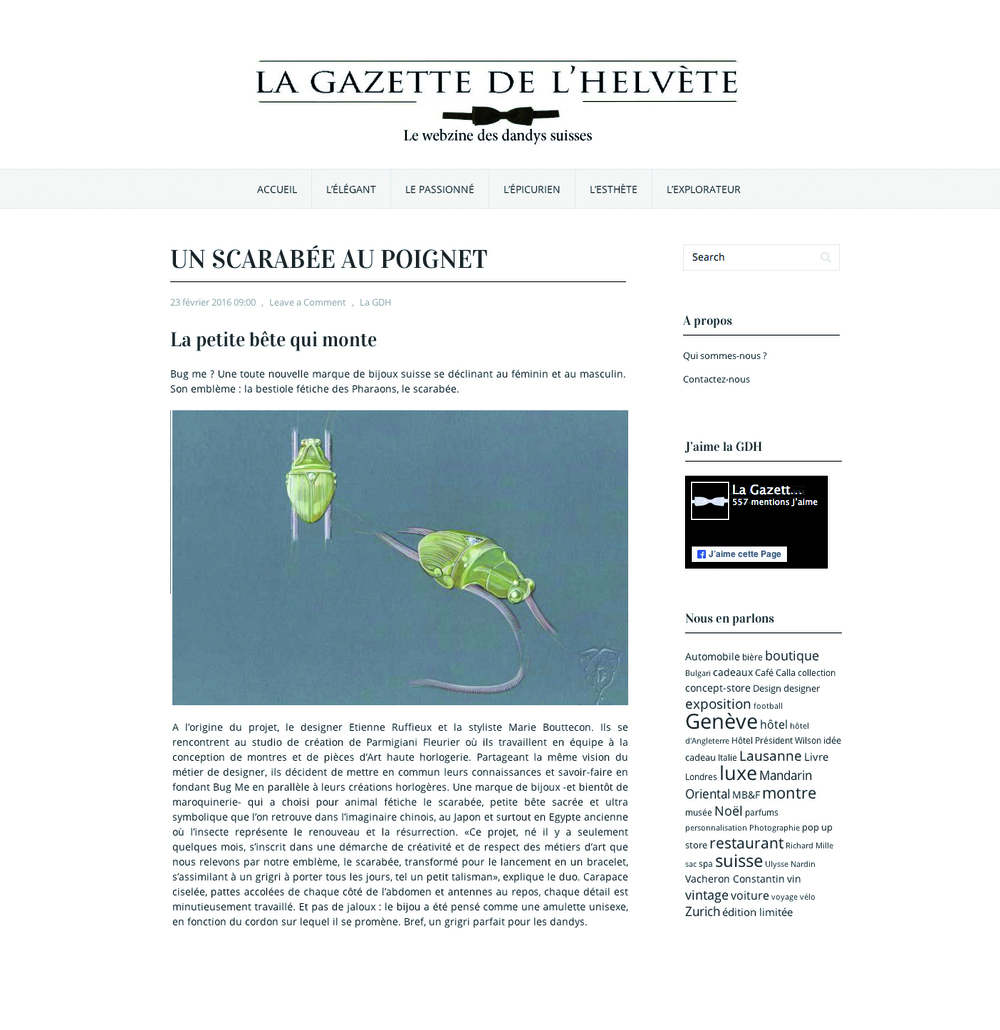 Bug Me jewels La gazette des helvetes article