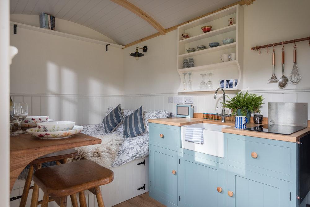 Handmade kitchenette with mini Belfast sink
