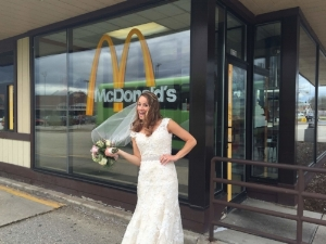 Stopping at the Golden Arches to pre-order cheeseburgers for a late-night, post-wedding snack on the wedding shuttle!