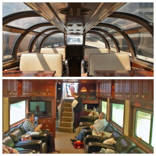 The  Stampede Pass  features dome seating for 24 passengers, as well as seating in six four-top tables for formal dining in the dome, 8 booth seats and 10 leather seats in the cherry paneled long lounge, and a full galley.  The car can accommodate six overnight guests as well as one staff member. Master bedroom A features a queen size bed, full-size shower, toilet and vanity.