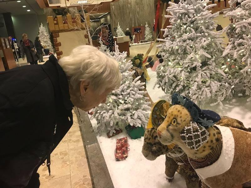 A guest on a private Christmas Lights & Desserts tour enjoying time to explore the annual BMO Harris Holiday Display