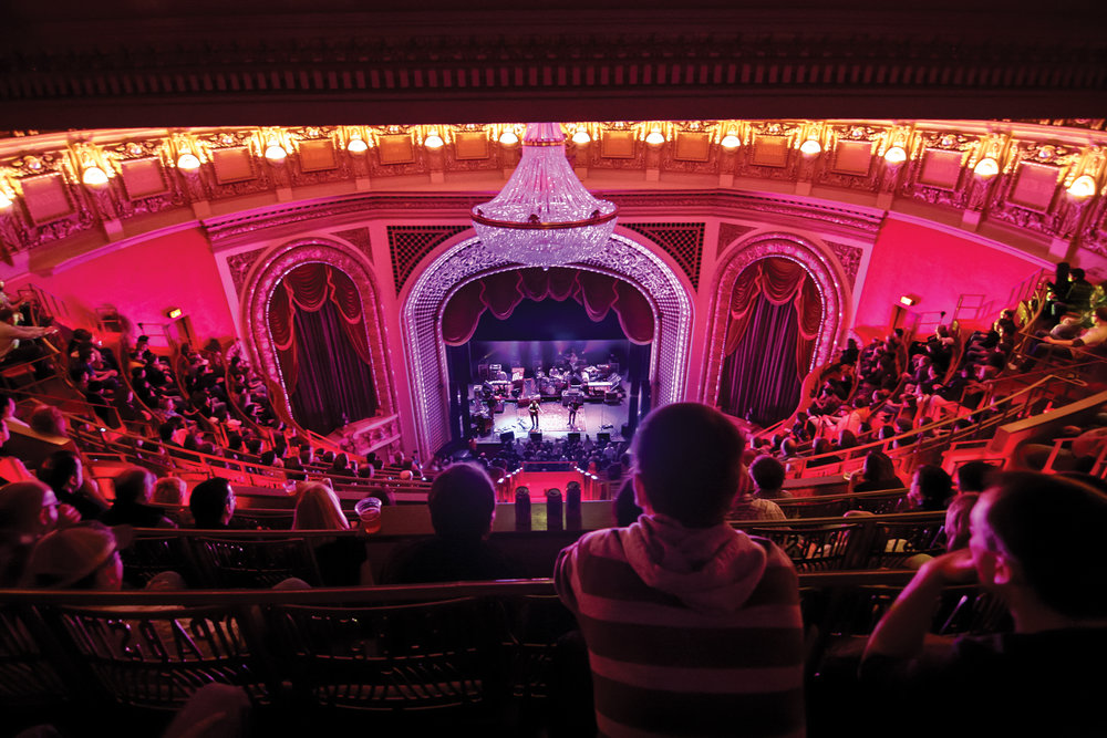 Attendees getting ready for a show at the Pabst Theatre in downtown Milwaukee
