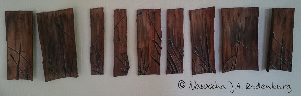 'Shadow of a Meadow on bark' (  30cm h x 120cm w)  wood, bark, copper wire, Indian ink, ink, linseed oil