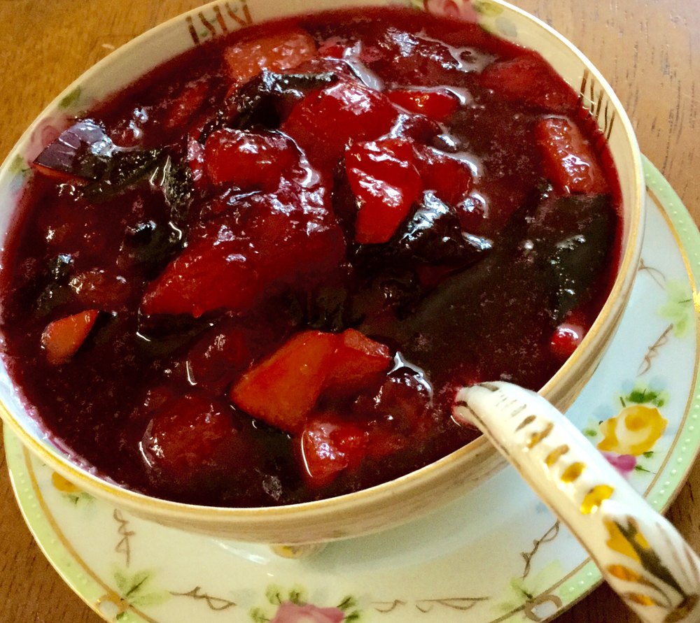 Plum Compote I ladle over my made-from-scratch Banana CocoNut Pancakes!  Ooooooom!