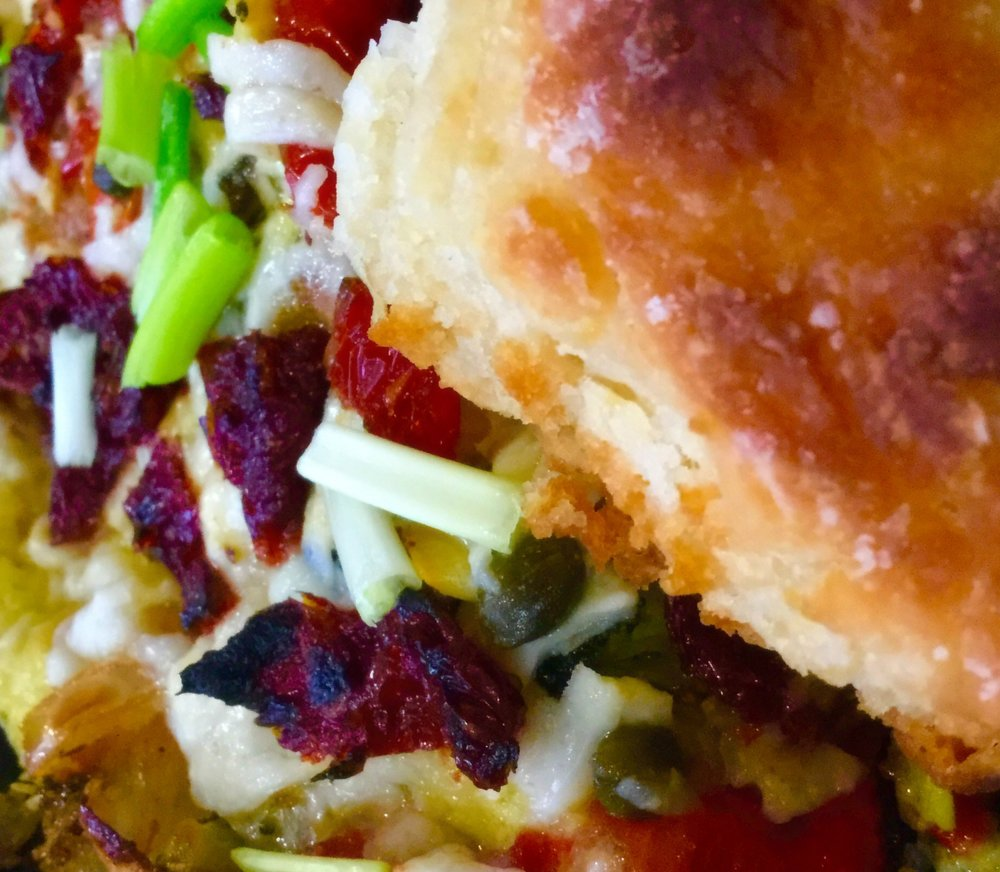 Egg & Cheese   with Roasted Vegetables on a My Scratch-Made Buttermilk Biscuit!  Oooooooom!