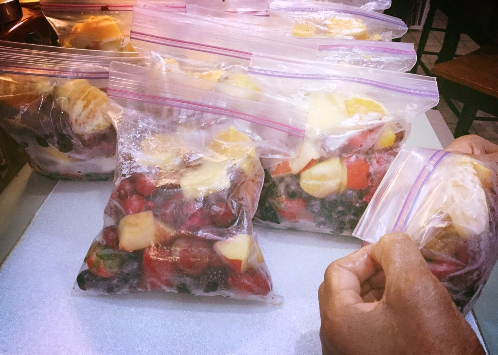 Grannie portions, bags and freezes the fruit then just a quick blend for easy drink & go
