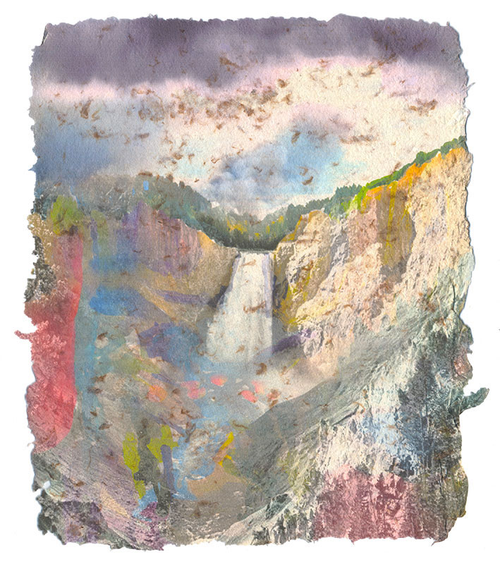 Waterfall, 2014, Digital print on homegrown and homemade cotton paper, 8 x 10 inches