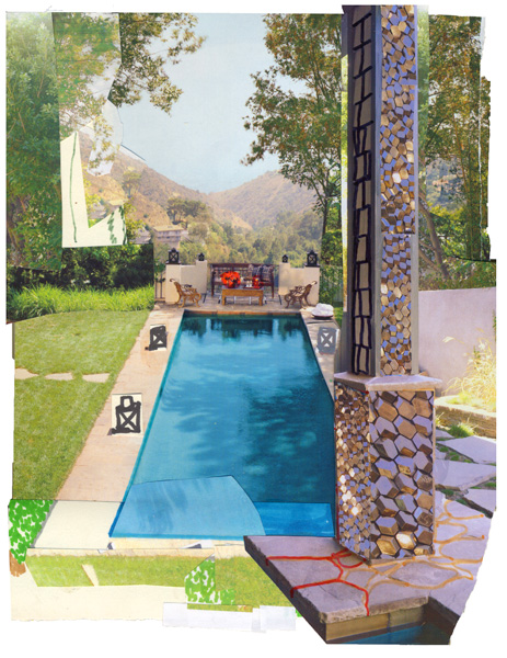 Jewel Pool, 2008, Mixed media collage, 8.5 x 11 inches