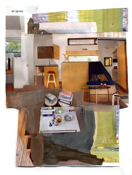 My House, 2009, Acrylic paint and magazine collage, 8 1/2 x 6 1/4 inches