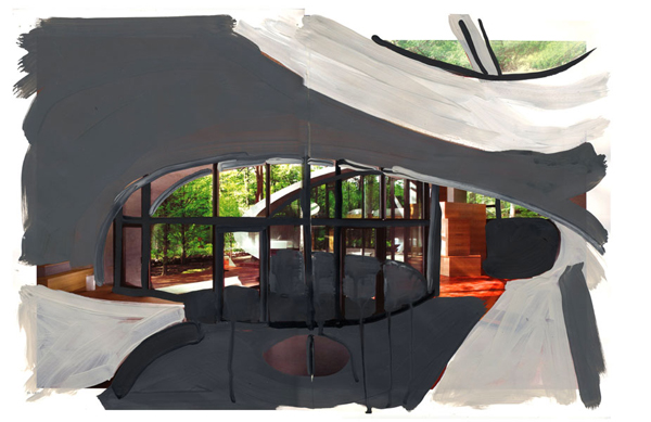 Curved Room, 2009, Acrylic paint and magazine collage, 11 3/4 x 17 1/2 inches