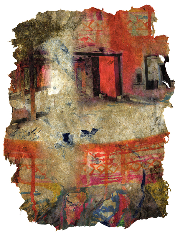 We Are Not Ok, 2017, Pigment print on handmade paper (cotton, daylily, bamboo, hosta, yucca, and indigo dyed cloth), 21 x 16 inches