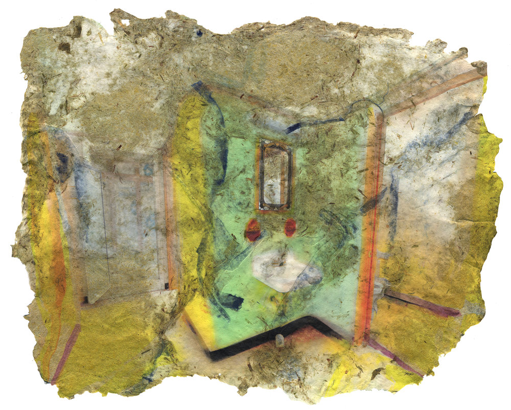 Dorm Bathroom, 2017, Pigment print on handmade paper (cotton, bamboo, yucca, daylily and indigo dyed cloth), 17 x 21 inches