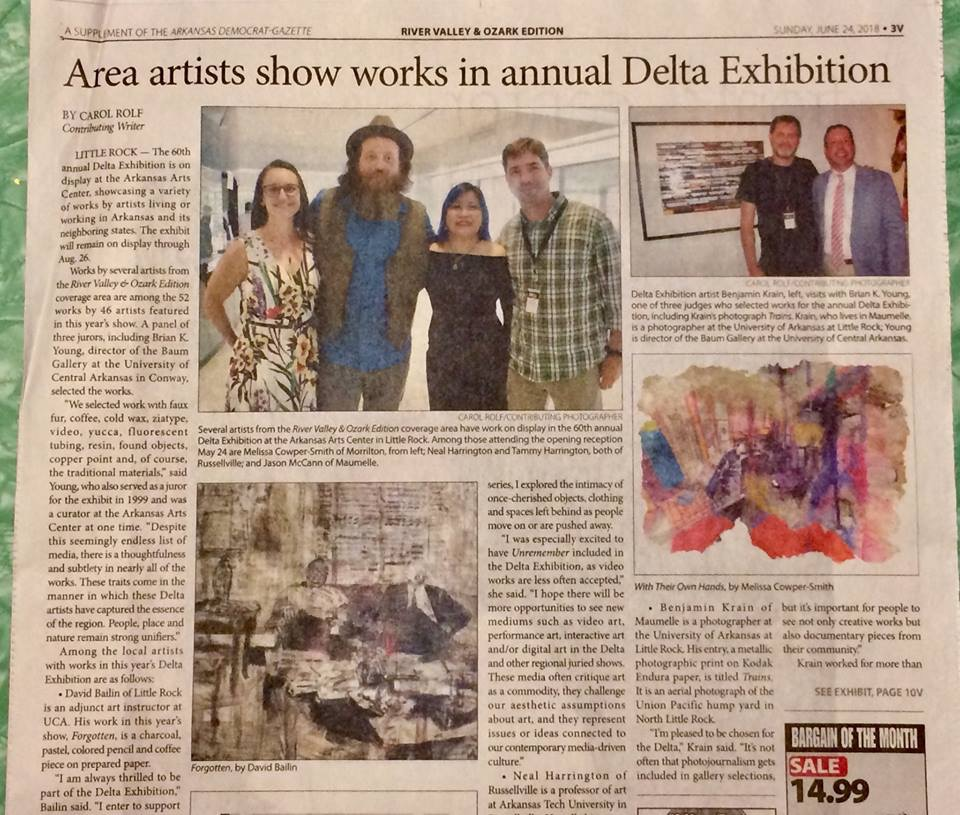 Images and article about the Delta Exhibition in the River Valley & Ozark Edition of the Arkansas Democrat Gazette.