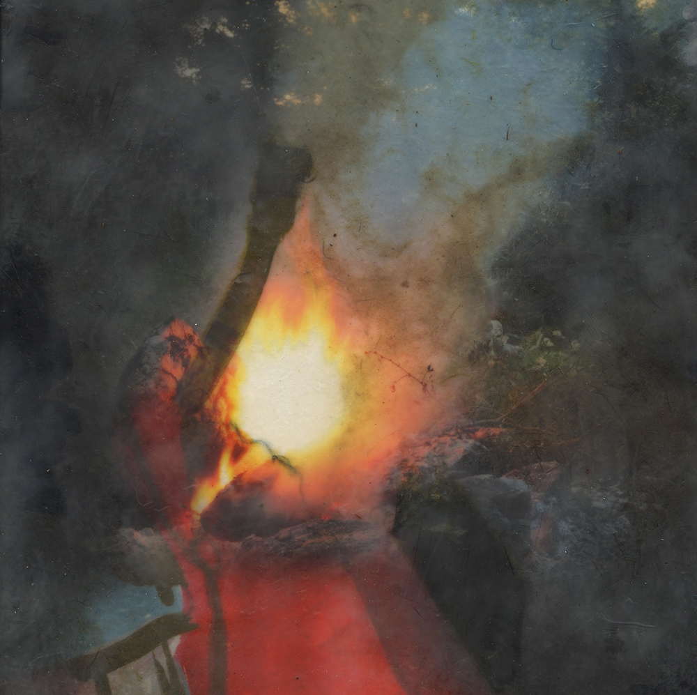Ashwagandha (Fire), 2018, Pigment print on handmade paper, oil paint, and encaustic on board, 12 x 12 inches
