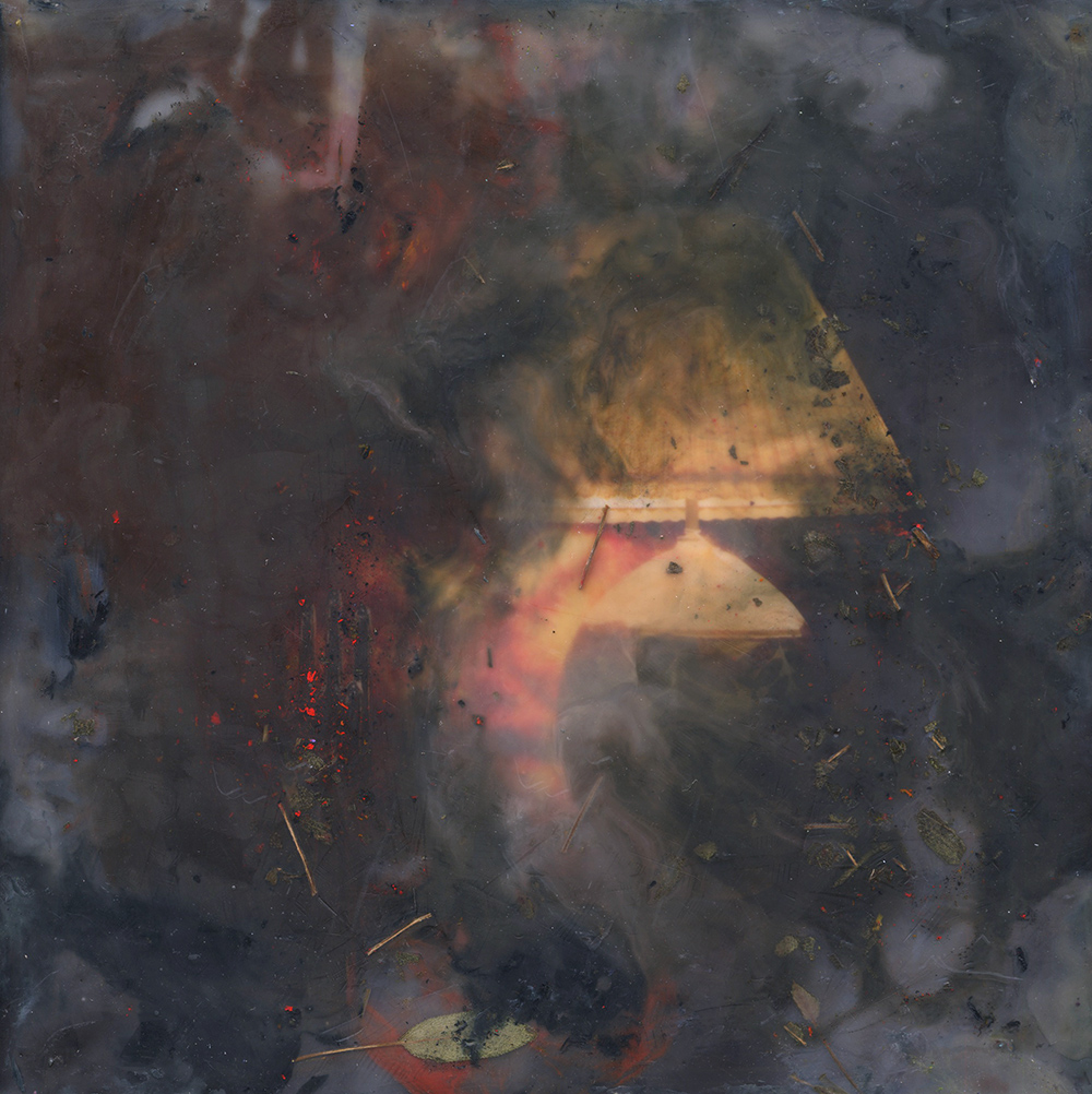 Sage (Lamp), 2018, Pigment print, oil paint, encaustic, and sage on board , 12 x 12 inches