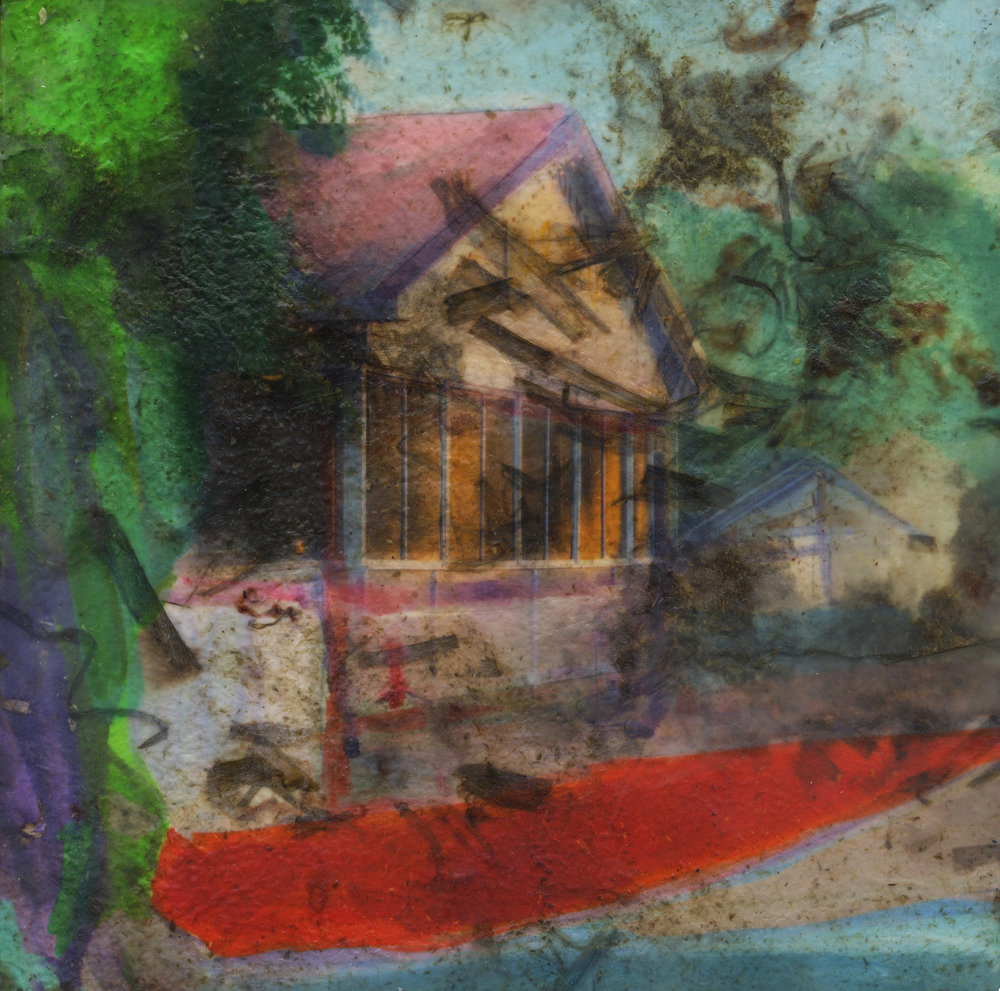 Elm (house), 2019, Pigment print on handmade paper, oil paint, and encaustic on board, 12 x 12 inches