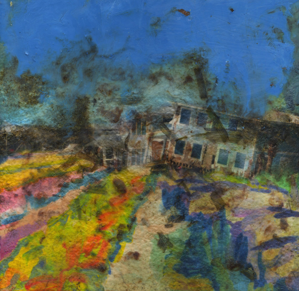 Cohosh (broken houses), 2019, Pigment print on handmade paper, oil paint, and encaustic on board, 12 x 12 inches