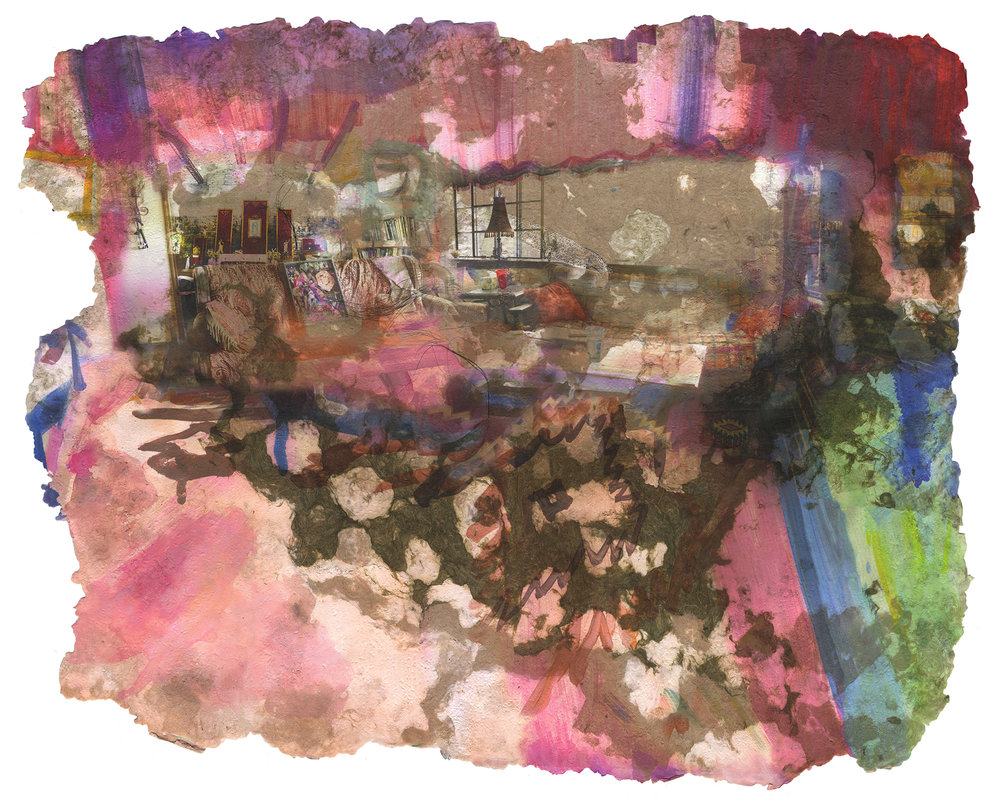 She Let It Happen (It Wasn't Her Fault), 2019, Pigment print on handmade paper (cotton, mulberry, hibiscus, medicinal herbs, antique lace and cotton fabric), 55 x 42 inches