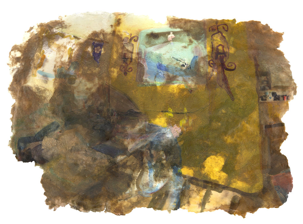 Fever (yellow room), 2019, Pigment print on handmade paper (cotton, mulberry, hibiscus, medicinal herbs, and cotton fabric) and encaustic, 41 x 27 inches