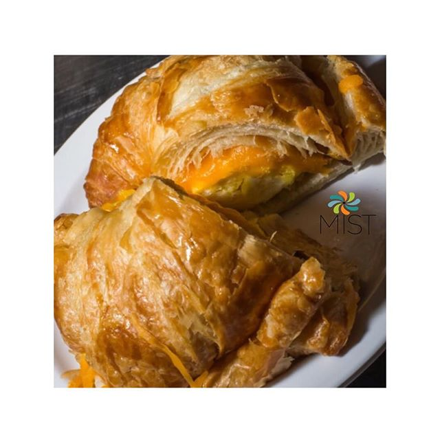 Stop by #MISTCafe for #Breakfast & try our delicious Bacon, Egg & Cheese on a croissant with a side of home fries or fruit salad 😋 #Egg #Cheese #crossaint #morning #goodeats #Goodvibes