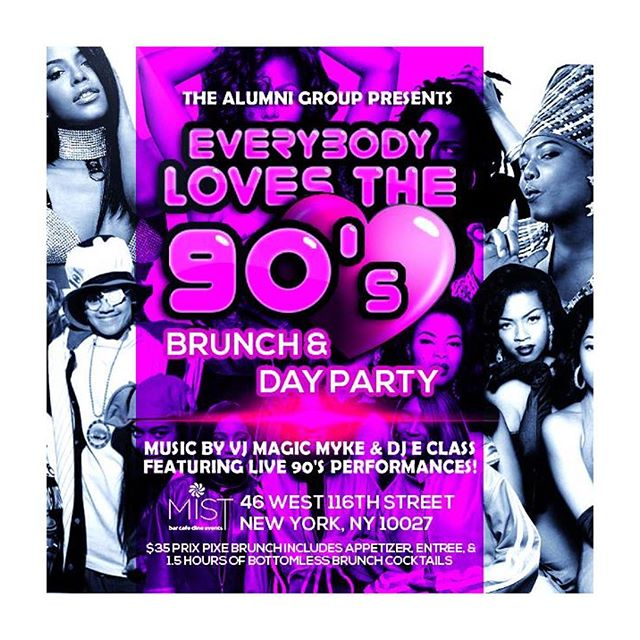 Join us for our all day Sunday 90's Brunch. $35 prix -fixe includes 1 Appetizer, 1 Entree and unlimited 90 min bottomless mimosas, rum punch & sangrias. Brought to you by @the_alumni_group sounds by @djeclassnyc #MISTHarlem #Harlem #Brunch #SundayBrunch #Music #Video #DJ #RB #Rap #HipHop #OldSchool #NYC