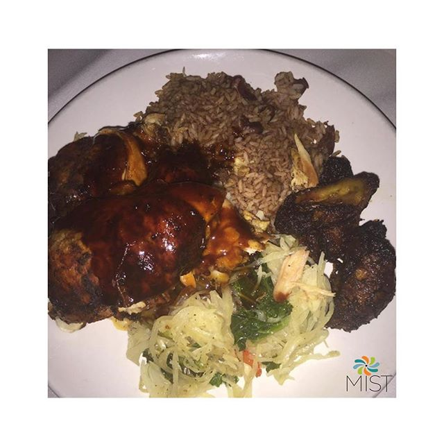 Today is #CaribbeanCornerMonday here at #MISTHarlem. Come in and enjoy our $5 Jerk Chicken Plate. $5 Curry Chicken and $6 Oxtail Plates are also available. #CaribbeanBites #Food #Oxtails #JerkChicken #Cabbage #SweetPlantains #Rice #BBQ #NYC #Vibes #GoodFood #Cocktails