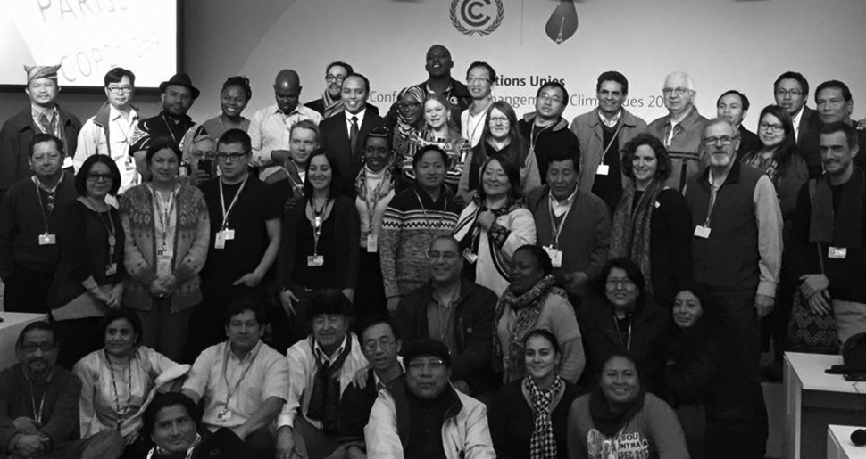 Meeting of the Indigenous Peoples' Caucus at COP 21 in Paris. Photo © FIAY 2015.