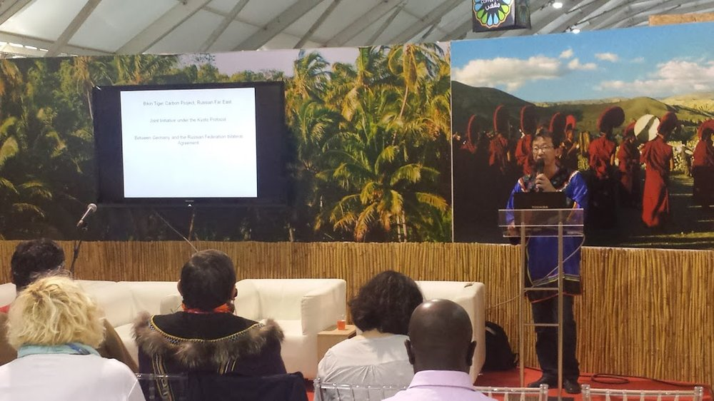"Rodion Sulyandziga  speaking at the Indigenous Peoples Pavilion at COP22 during the   ""Indigenous Peoples and Climate Change: Russia case"" event."