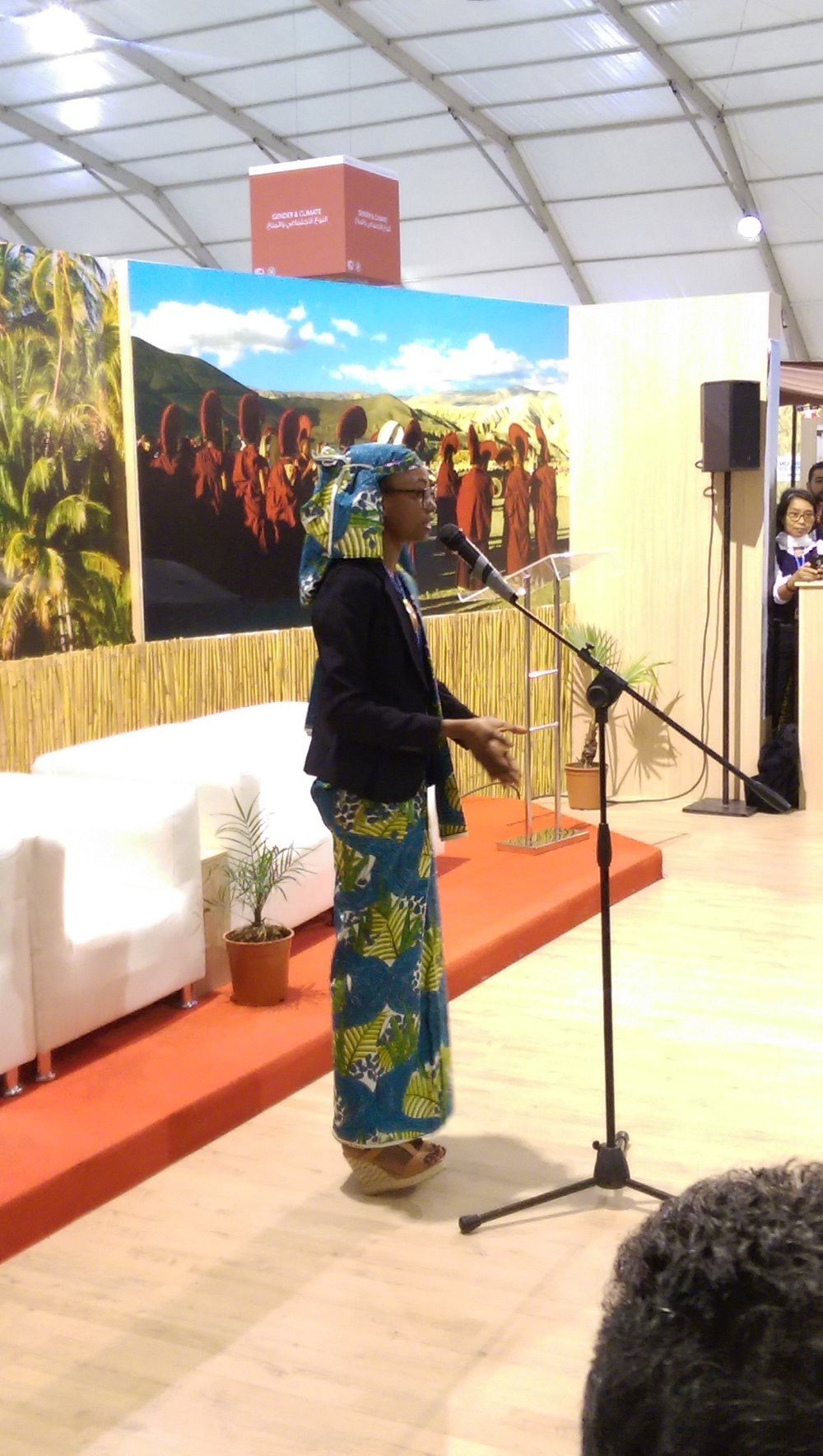 Hindou Ibrahim adressing the IP Pavilion opening ceremony