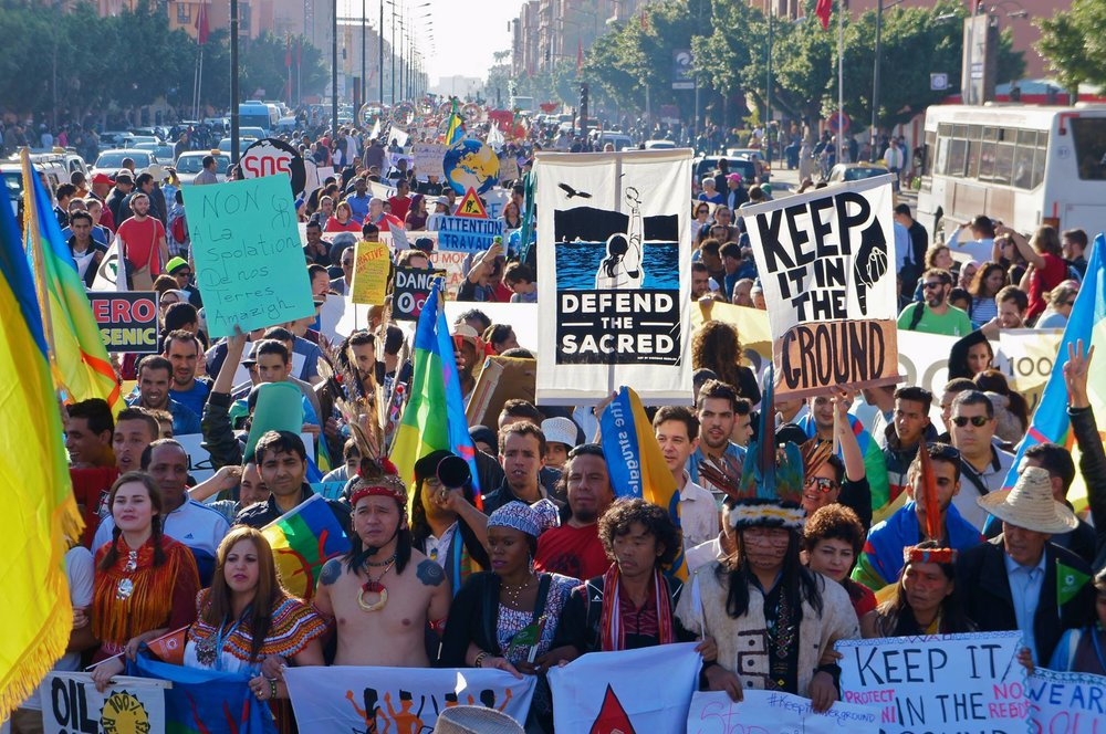 Indigenous Peoples led Sunday's March in Marrakech, Morocco during the UNFCCC COP 22 Conference
