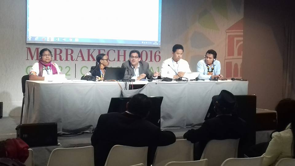 Last session of the Indigenous Peoples Caucus at COP 22 held in Marrakech, Morocco, November 18, 2016