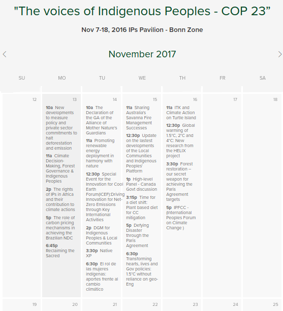COP23 week II calendar of events IIPFCC Pavilion.png