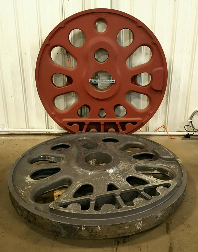 "when it came time to manufacture the 80"""" diamter boxpok wheel for the PRR T1 #5550, gemini spent countless hours managing contractors to ensure the highest quality. much time was spent doing metalurgy to ensure exact match to original steel. These wheels had not been poured in more than 60 years."