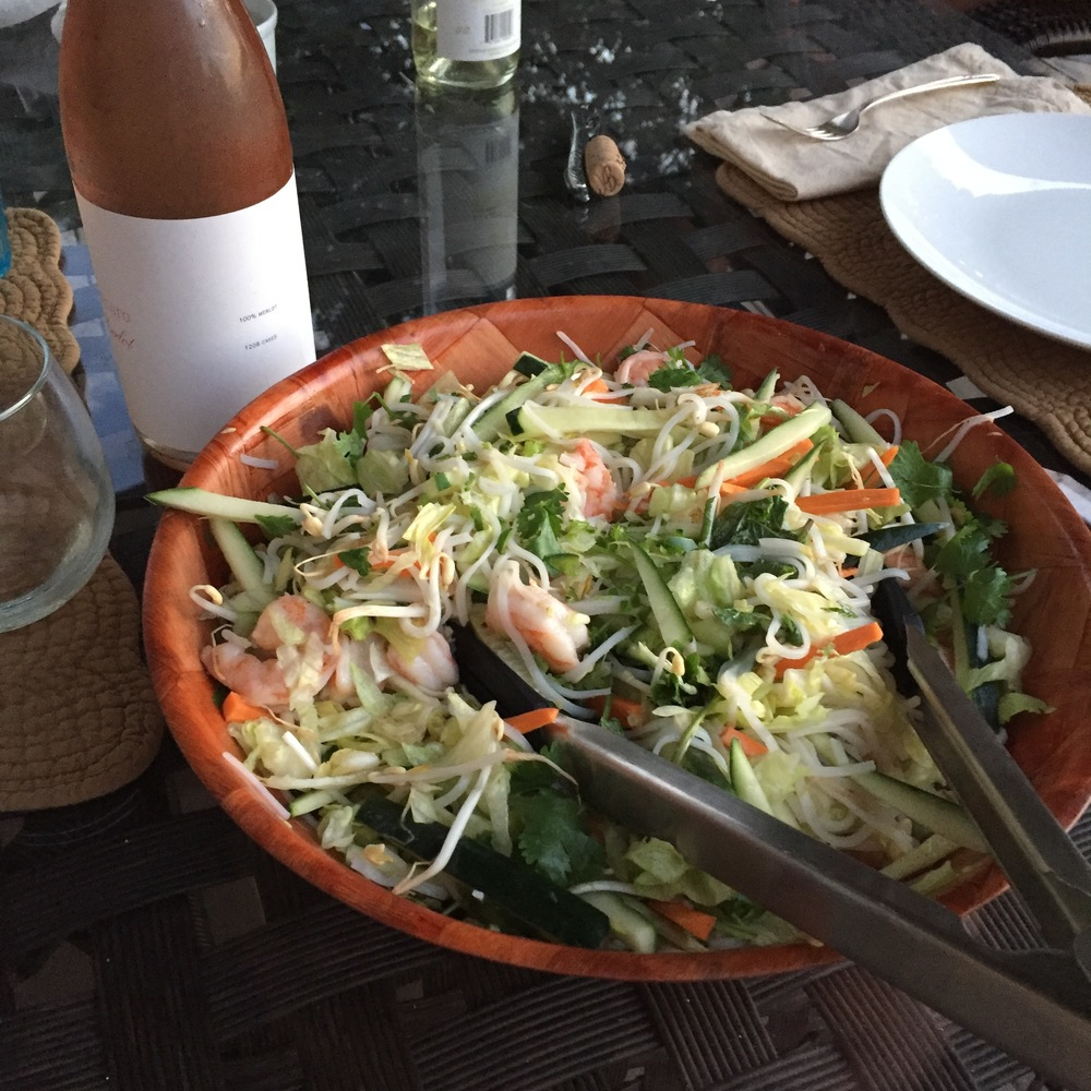 Vietnamese rice noodle salad with shrimp