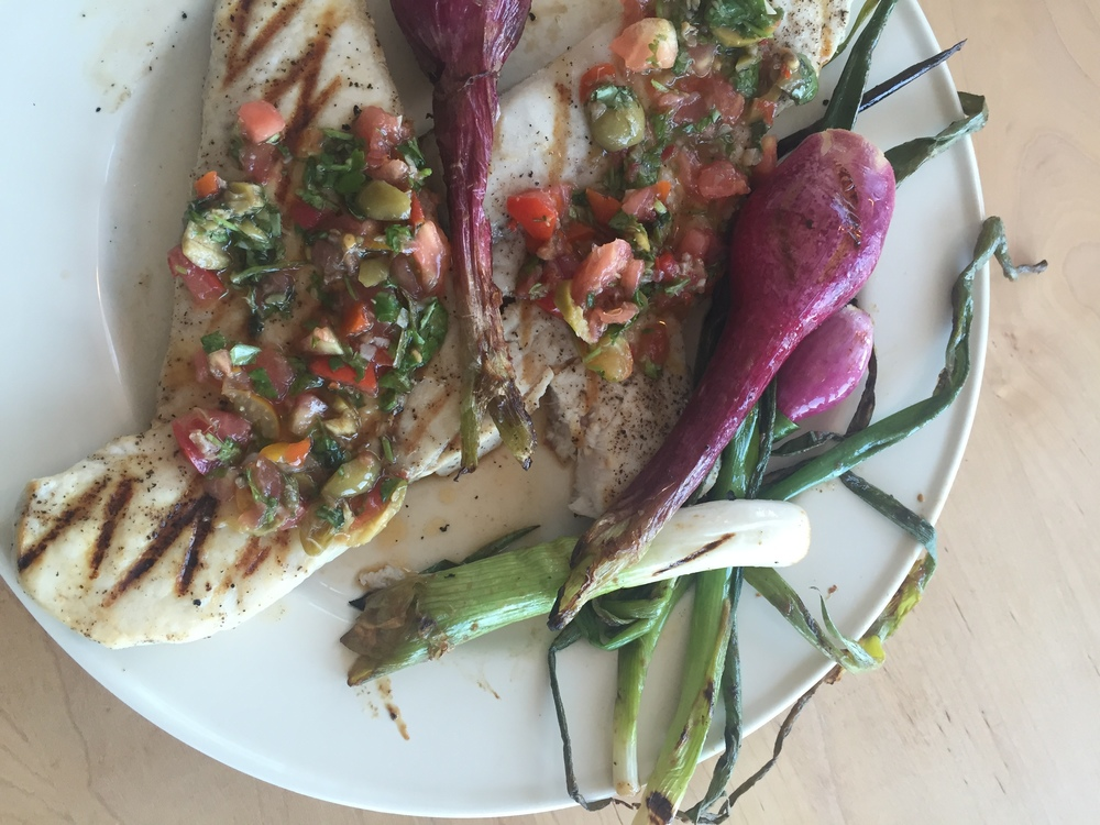 grilled swordfish with tomato tapenade