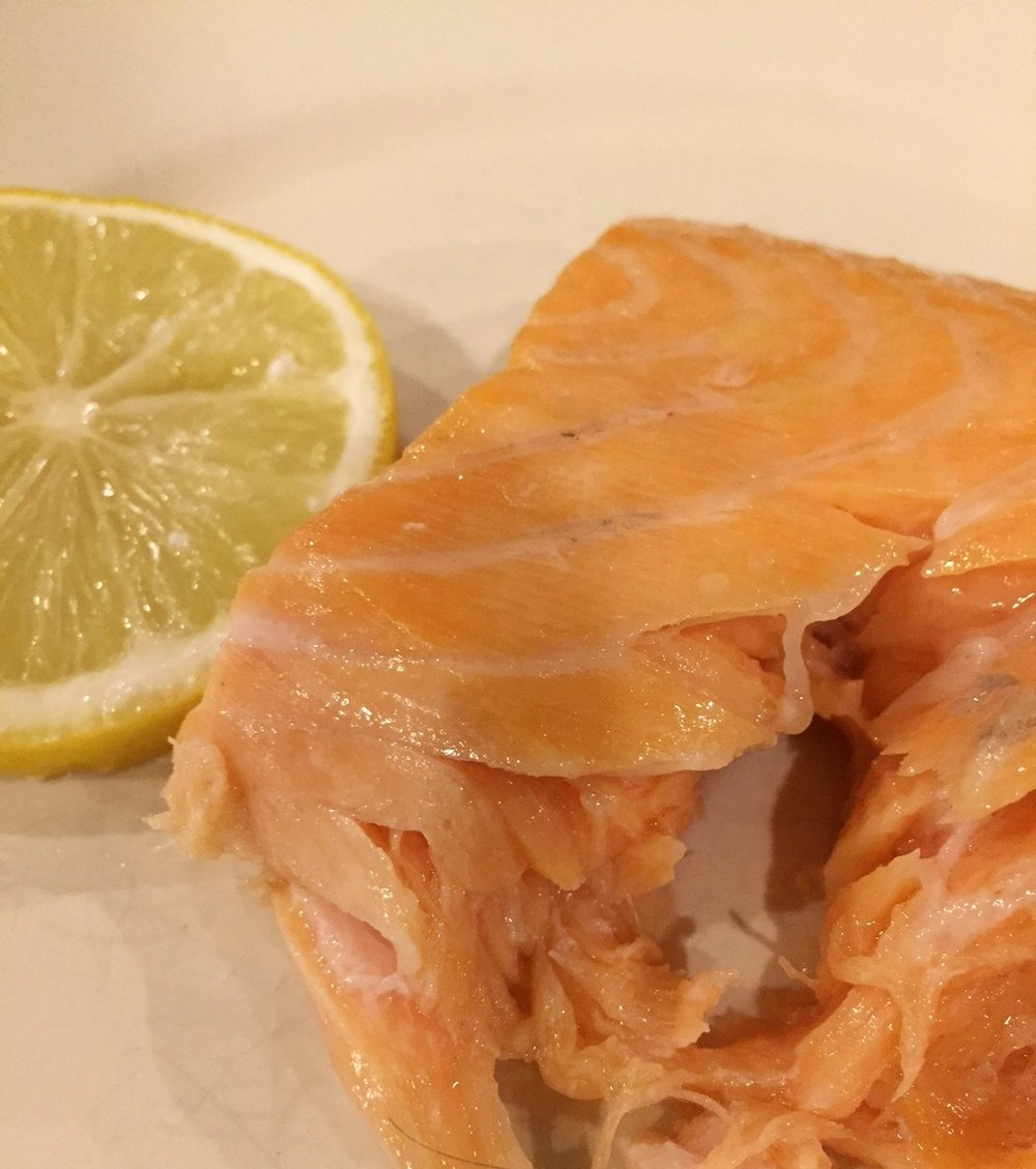 - Oven-steamed salmon: This is a great way to get soft decadent salmon with no effort: put a pan of water in the oven as you cook the fish. Served with plain yogurt mixed with lemon juice and pepper.