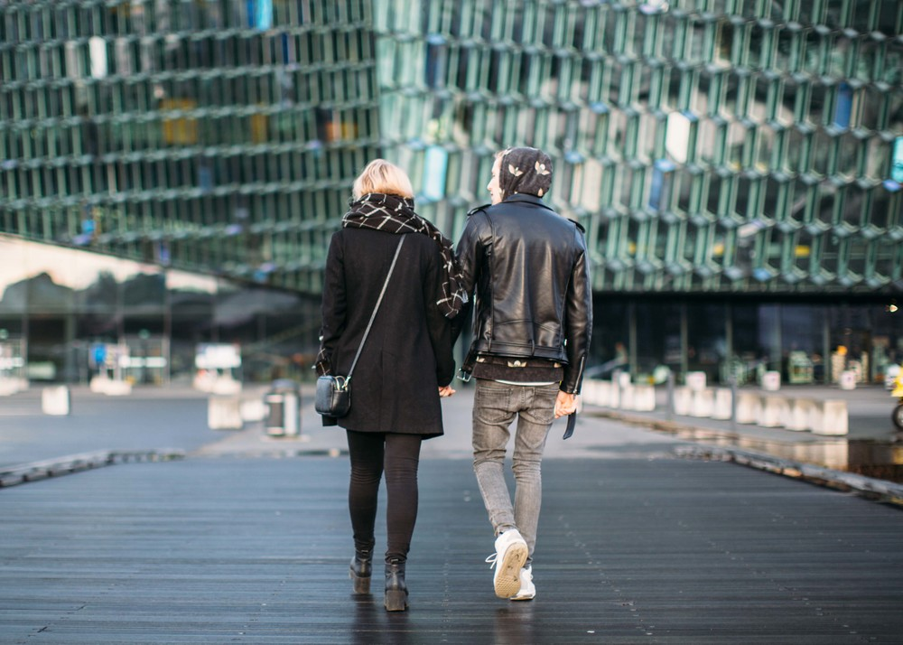 Outside the Harpa, Reykjavik.