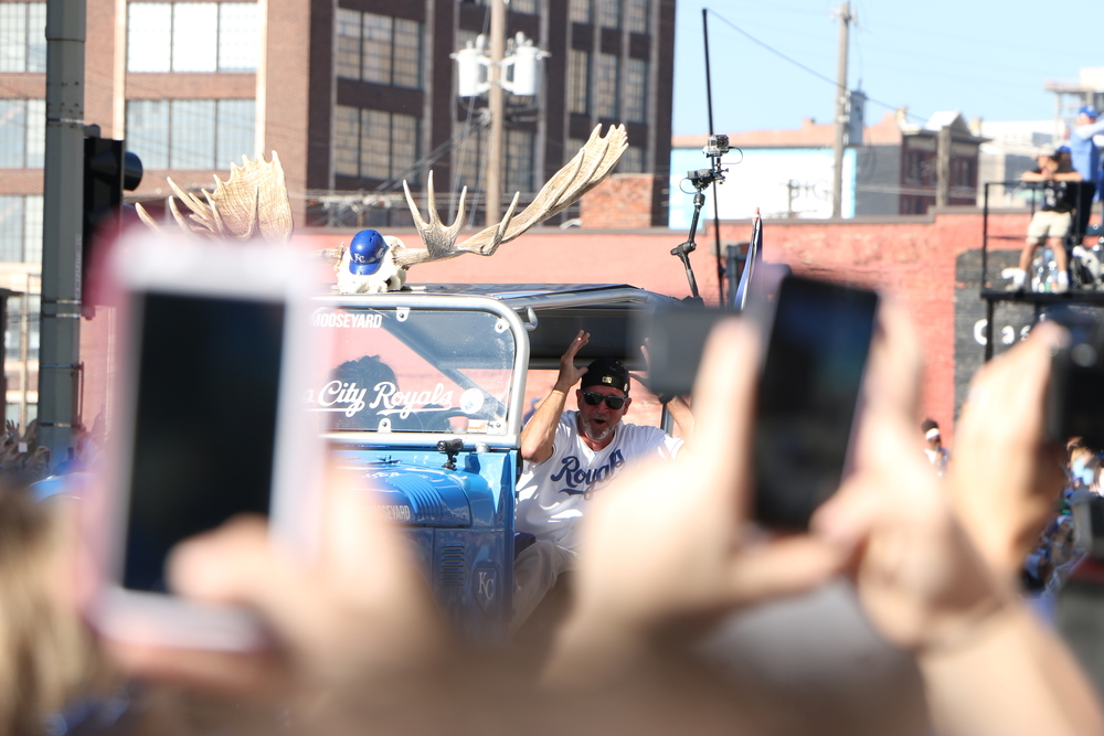"""The """"Moose Mobile"""" celebrating Mike Moustakas."""