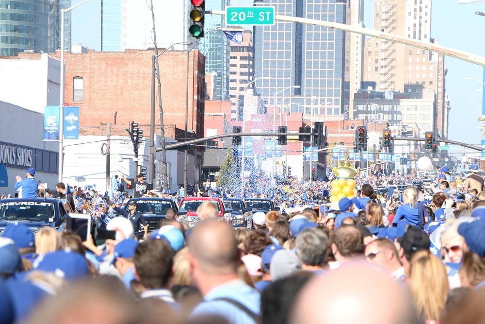 The parade coming down Grand Blvd. in Kansas City, Missouri.