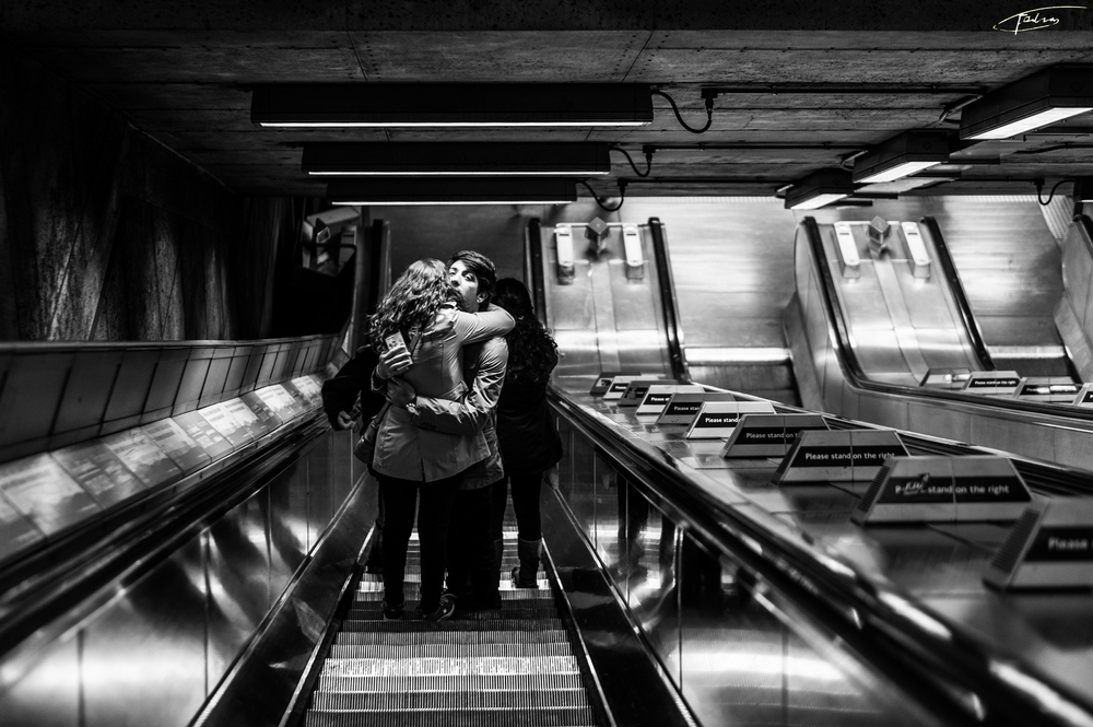 Love in the metro station in London
