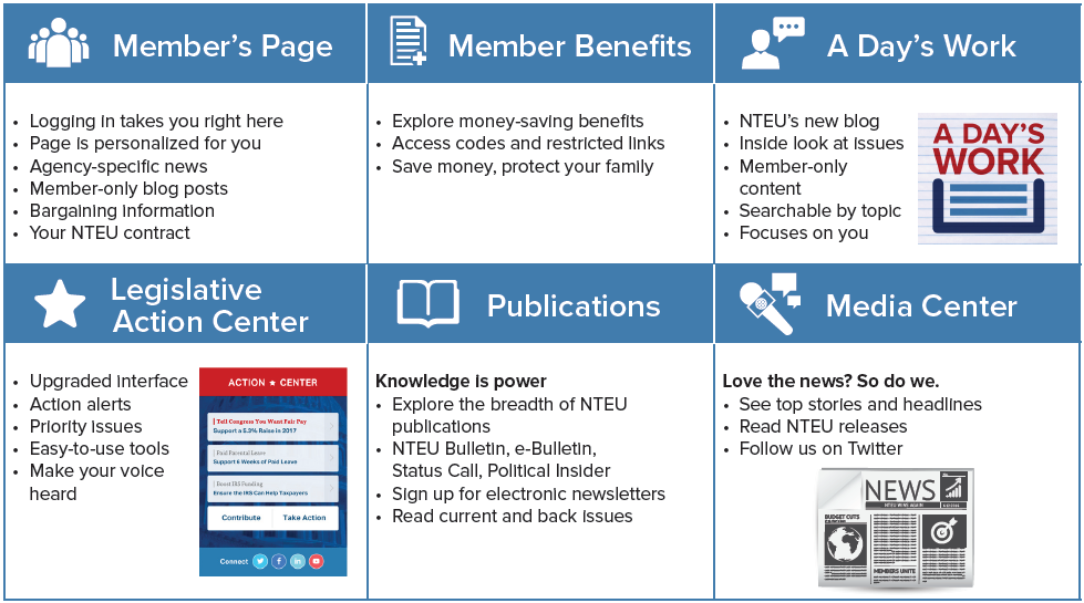 Some of the new members-only features of the new NTEU website.