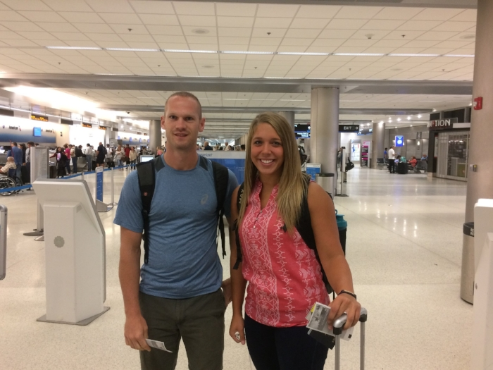 Colby and Alisha ready to depart Miami for Port-au-Prince.