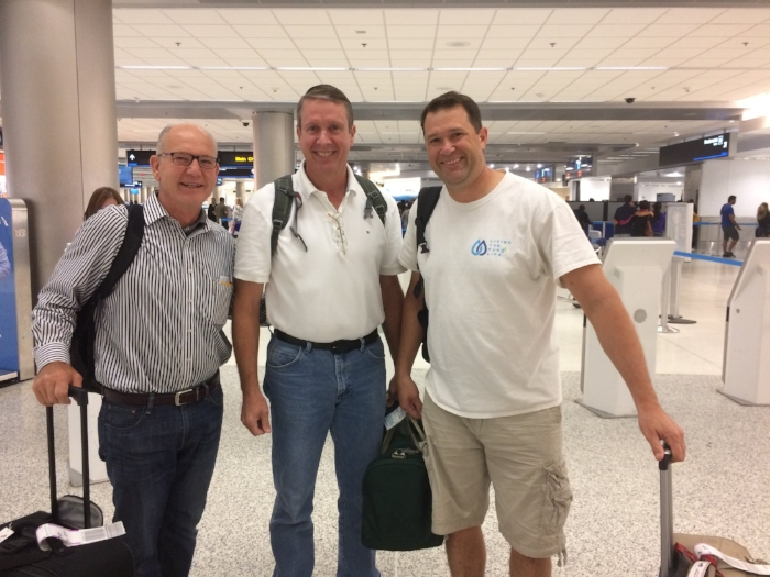 Chris, Paul, and Andy ready to depart Miami for Port-au-Prince.