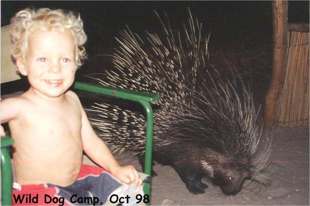Young Madison posing with a prickly visitor.