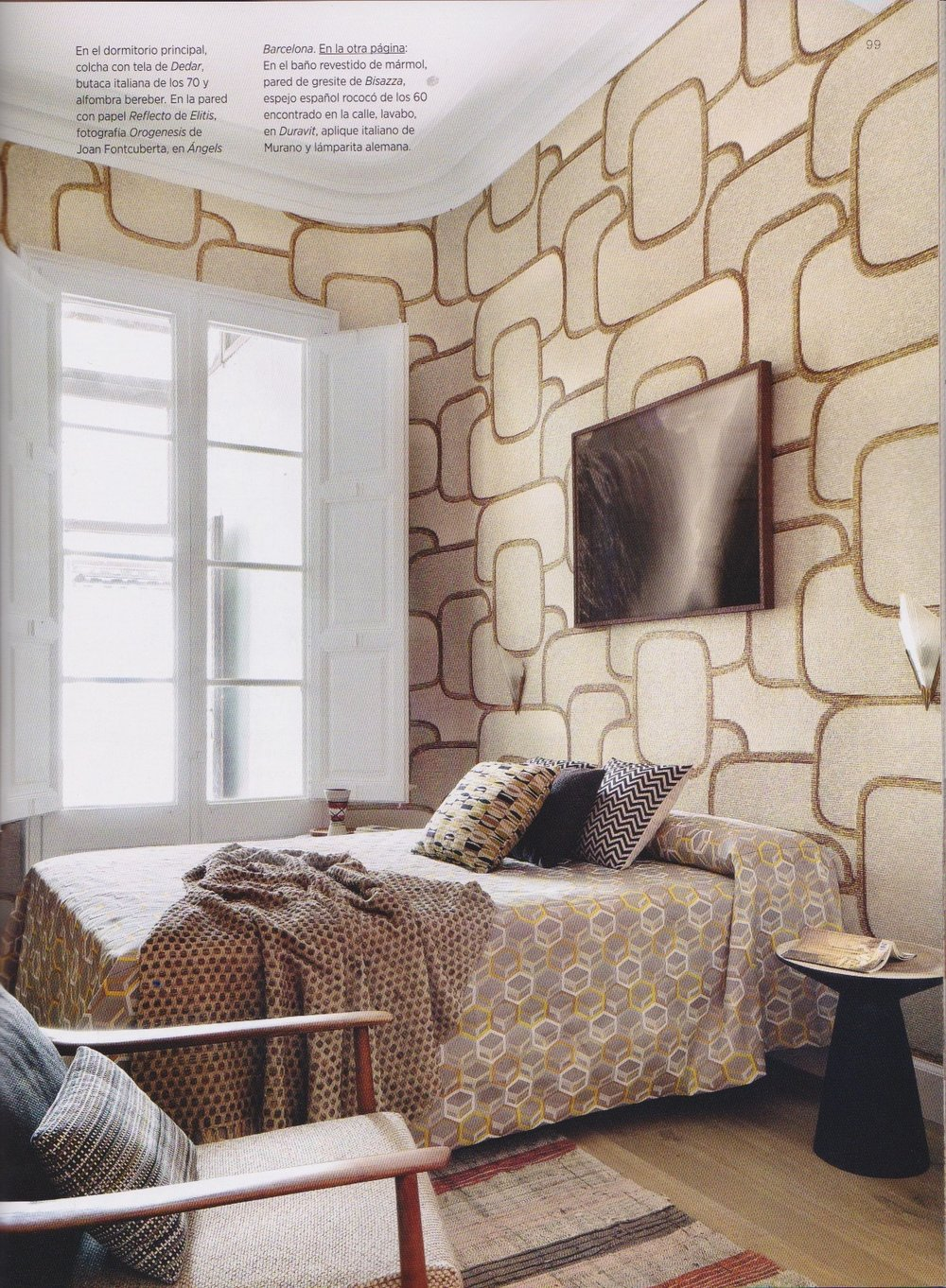 Wallpaper by Reflecto de Elitis in AD España issue Enero 2018/ Vida Segunda: Interior Desing by Mikel Irastorza/ Barcelona